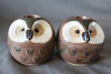 Pair Retro Stoneware Owl Candle Holders Ceramic MidCentury Round Vintage Kitch