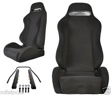 NEW 2 Black Cloth + BLACK Stitching Racing Seats RECLINABLE Ford Mustang Cobra