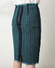 New Lanvin Fringe Trimmed Blue Woven Tweed Cotton blend Pencil Skirt FR38