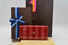 Authentic Louis Vuitton Monogram Vernis Rayures Portefeuille Sarah Wallet #S086