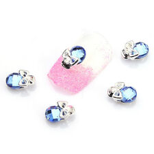 3D Nail Art Ideas Skull Blue Rhinestone Nail Slices Manicure Decoration 5pcs