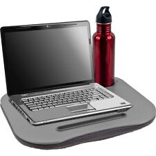 Laptop Buddy Gray Cushion Desk - Pen and Cup Holder For 12 Inch Laptops Tab