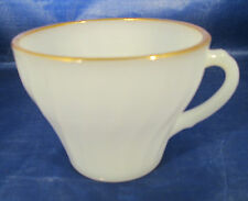 Anchor Hocking Heat Resistant Milk Glass Swirl Anchorwhite w/ Gold Trim Cup