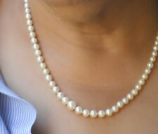 "Vntg Cultured Pearl Necklace 19"" White Gold Filagree Clasp w/orig Box & Guar"