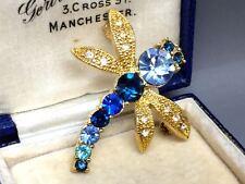 Vintage Czech Blue Glass & Diamanté Dragonfly Brooch