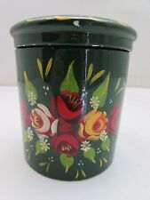 Tea Caddy / Sugar Pot Porcelain Hand Painted By Anne Young 11cm