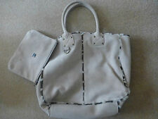 GAP STONE FABRIC TOTE WITH BROWN DOG TOOTH FUR LINING & DETACHABLE PURSE