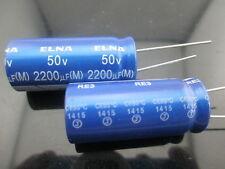 2pcs Japan ELNA RE3 2200UF 50V 2200mfd Audio Capacitor 16X35.5mm