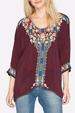NWT Johnny Was XL EXTRA LARGE runs BIG FITS XXL ROSA Embroidered Blouse DOLMAN
