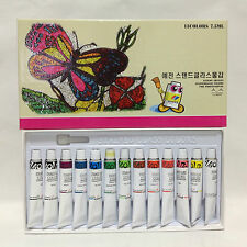 Yejeon Stained Glass Paint 12 Colors 13 Tubs Set 7.5ml Glass Painting Kit