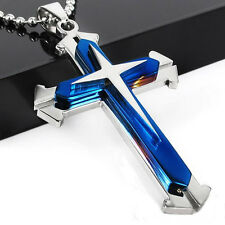 Unisex's Men Stainless Steel Cross Pendant Necklace With Chain Nice Xmas Gift