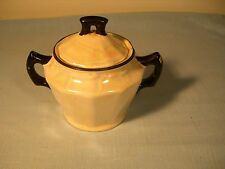 Lusterware Czechoslovakia Antique Sugar Bowl Iridescent Pearl with Black Accents