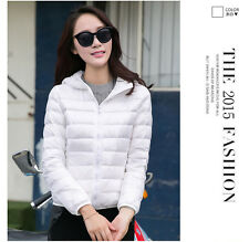 Womens Lady Outdoor Packable Duck Down Ultralight Hooded Puffer Jacket Coat