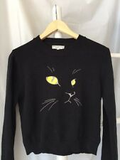 Lovely •Opening Ceremony• Black Cat Embroidered Knit Sweater Top SZ S M L