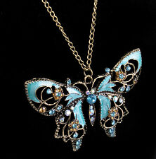 Crystal Hollow Butterfly Rhinestone Valentine's Day long chain pendant Necklace