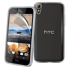Ultra Thin Clear TPU Gel Skin Case Cover & LCD Film For HTC Desire 830
