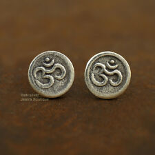 925 Sterling Silver Om Ohm Aum 8mm Round Yoga Namaste Post Stud Earrings A1799