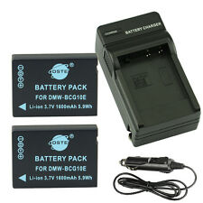 DSTE 2x DMW-BCG10E Battery + Travel and Car Charger for Panasonic DMC-ZS1 ZS3