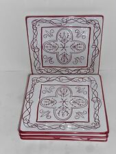 4 Roscher & Co. Ceramic Fiona Square Salad Luncheon Plates Set NEW