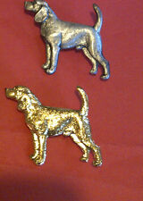 VINTAGE KENART gold plated ENGLISH HUNTING BEAGLE SNOOPY DOG HOUND PIN BROOCH