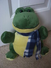 ALDI STORES SOFT TOY HAND GLOVE PUPPET GREEN YELLOW FROG BLUE CHECK STORY EASTER