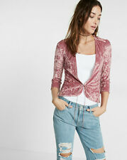 Nwt express one eleven velvet tie front coverup top shirt coat cardigan S  pink