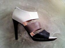 BOTTEGA VENETA Women's 10.5 B Black/Taupe/White Leather Strappy Ankle Boot Italy
