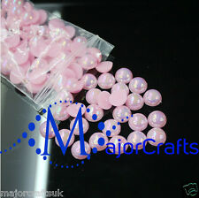 1800pcs Light Pink AB 1.5mm Flat Back Half Round Resin Pearls Nail Art Gems C07