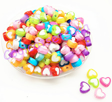 New 100Pcs 7*8 mm Candy Mixed Color Acrylic Heart Spacer Loose Beads