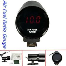 12V 37mm Red LED Air Fuel Ratio Gauge Meter Pointer AFR Digital Smoked Len Black