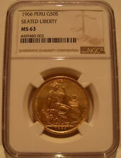 Peru 1966 Gold 50 Soles NGC MS-63 Seated Liberty Mintage - 3409