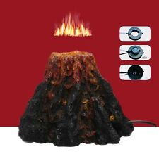 Fish Tank Aquarium Ornament Air Stone LED Lighting Resin Volcano Oxygen Decor