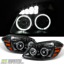 Black 2005-2010 Cobalt 07-10 Pontiac G5 Halo Projector LED Headlights Left+Right