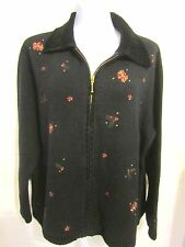 Christmas Holiday Cardigan Zip Front Sweater plus size 1X Embroidery Black