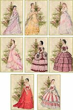Vintage inspired Christmas ball gowns ladies scrapbooking crafts 8 w/envelopes