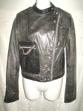 ZARA TRF COLLECTION Distressed Brown Leather Biker Moto Jacket S 4