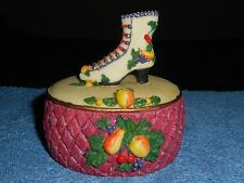 VICTORIAN SHOE TRINKET BOX (FLAMBRO)? SCULPTED WITH FRUIT AROUND BOX