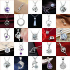Women Fashion 925 Sterling Silver Crystal Heart Pendant Necklace Chain Jewelry