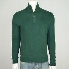 NWT TOMMY HILFIGER 100% Cotton 1/2 Half Zip Mock Neck Sweater Sz S Dark Green