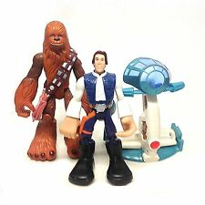 "STAR WARS Playskool HAN SOLO & CHEWBACCA 6"" chunky kids toy figures & equipment"