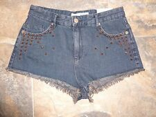 TopShop Moto Shorts Size 12 W30 BNWT Studded Spikes Hot Pants Dress Up Denim