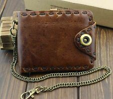 Vintage Biker Leather Bifold Snap Wallet With Chain for Mens or Boys