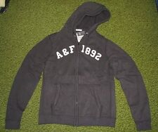 Mens (XXL) ABERCROMBIE & FITCH Charcoal Fleece Hoodie/Sweatshirt Jacket (1892)