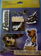 NEW 11 pc HOCKEY STICKER MEDLEY Jersey Puck Hockey Stick Skates Goal K & CO 3D