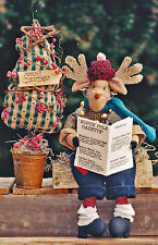 "SEWING PATTERN 12"" Soft Sculpture Reindeer Doll & Stuffed Christmas Tree UNUSED"