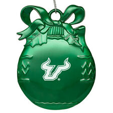 University of South Florida - Pewter Christmas Tree Ornament - Green