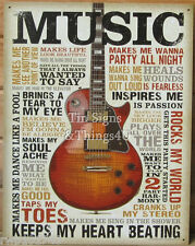 Music Inspires Me TIN SIGN metal poster vtg guitar wall art home bar decor 1898