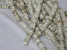 """10x4mm Natural White Turquoise Rondelle Beads 15.5"""" Strand"""
