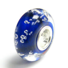 Sterling Silver Roundelle Bubble Murano Glass Bead for European Charm Bracelet