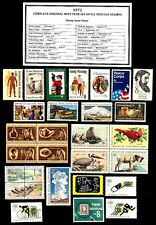 1972 COMPLETE YEAR SET OF MINT NH (MNH) VINTAGE U.S. POSTAGE STAMPS